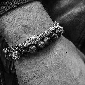Men!s 925 Sterling Silver Bracelet w Skull Clasp
